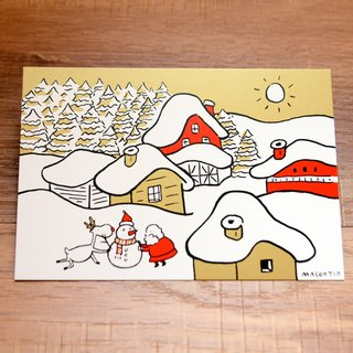no. 9 Winter Sun- A Very Miju Christmas! Gold theme original design Christmas Card