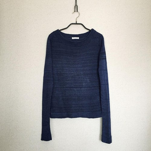 Crux [Crooks] round neck sweater / Night Blue