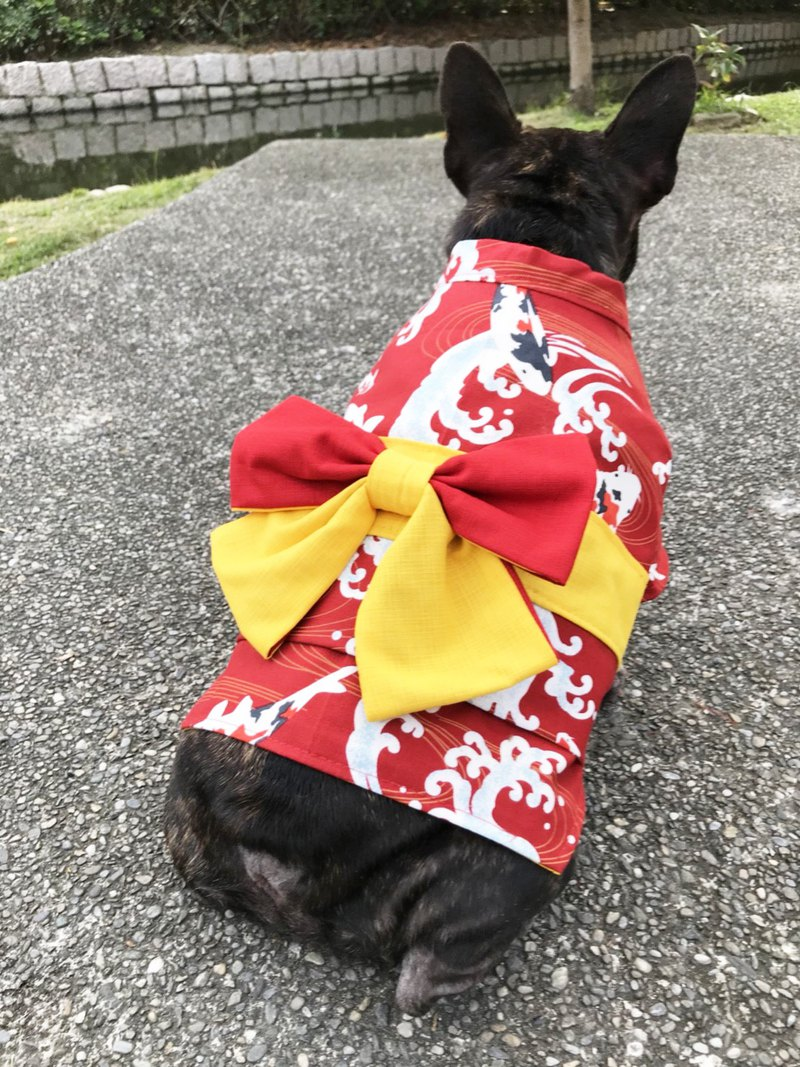 Red breeze carp Japanese Yukata (Spot M