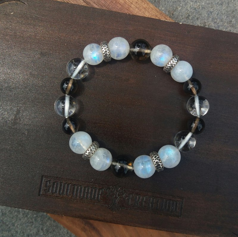 【Mercy】Crystal Stone Bracelet / Quartz X Smoky Quartz X Moon Stone