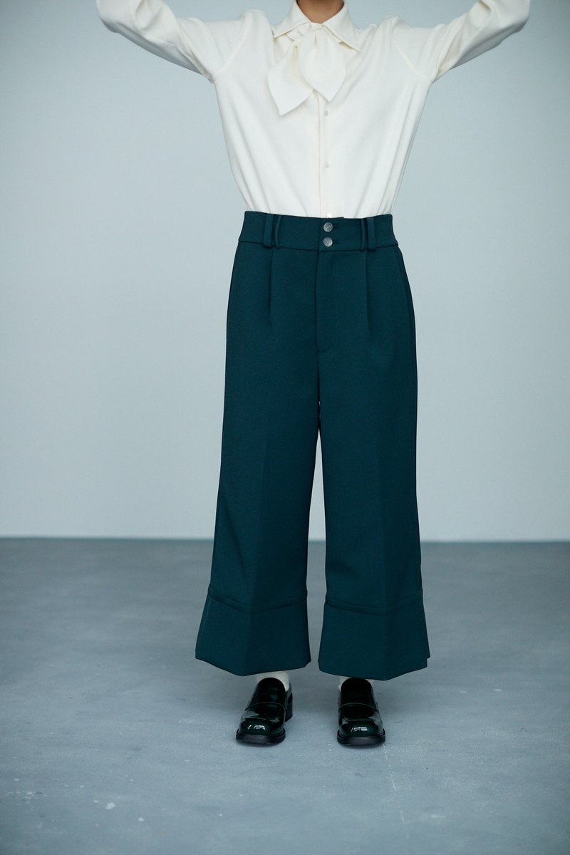 Twill dark green double button straight cropped pants