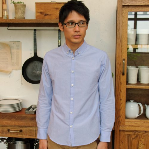 Cotton linen shirt blue · unisex size 2