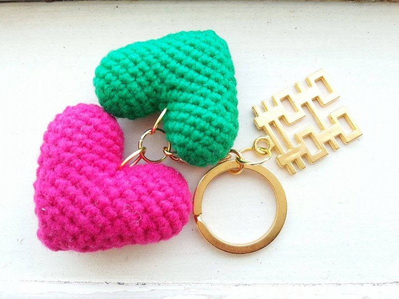 [Wedding] heart 囍 key ring - double heart version