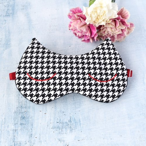 houndstooth cat  eye mask/with a small bag/travel/sleep mask/christmas