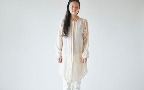 【In Stock 1 point SALE】 enrica cottonsilk blouse pinkbeige / botanical dye