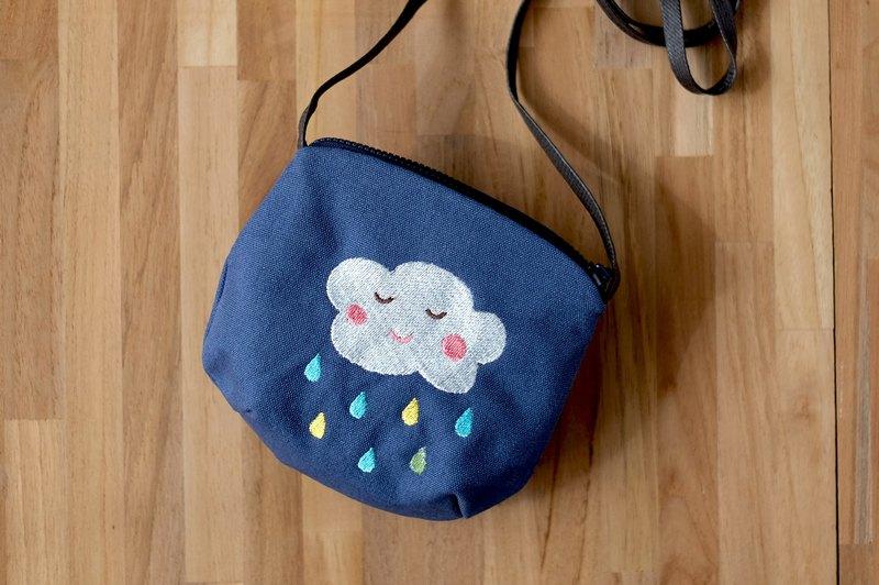 微笑雲朵彩色雨滴刺繡圖案斜背包