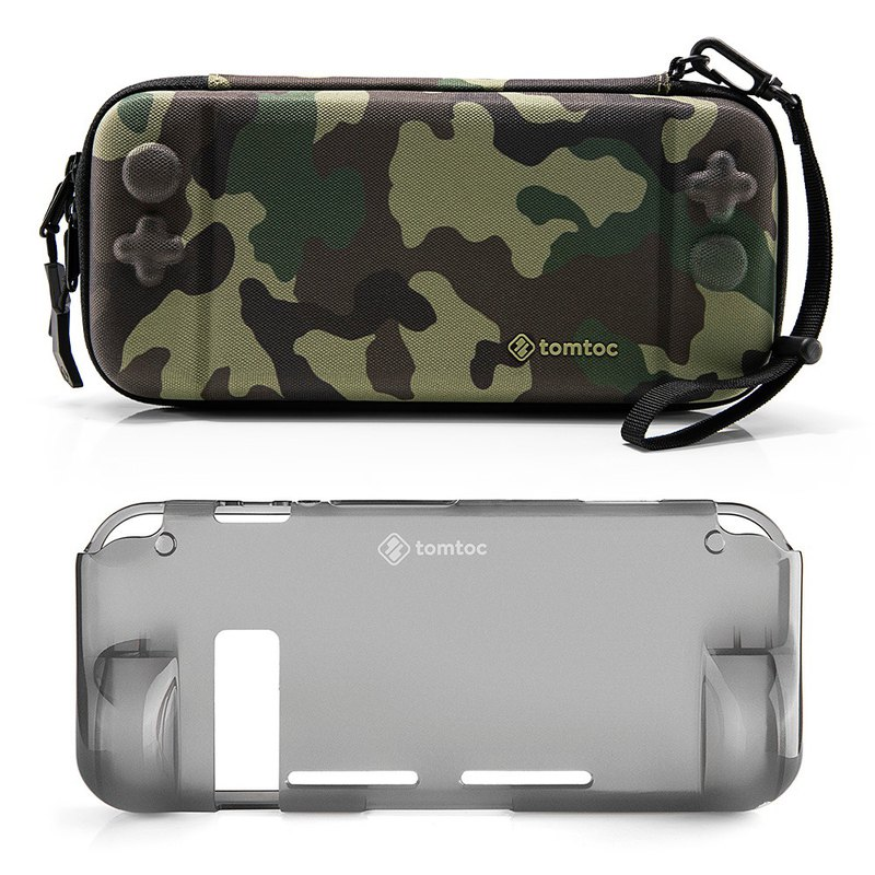 Tomtoc player preferred 2 generation Switch storage bag, camouflage with TPU soft shell with bundle