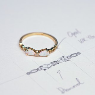 【PurpleMay Jewellery】18k Yellow Gold Knot Opal Ring Band R043