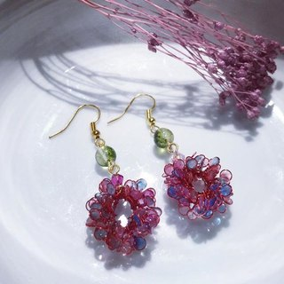 Classical crystal beads wreath earrings