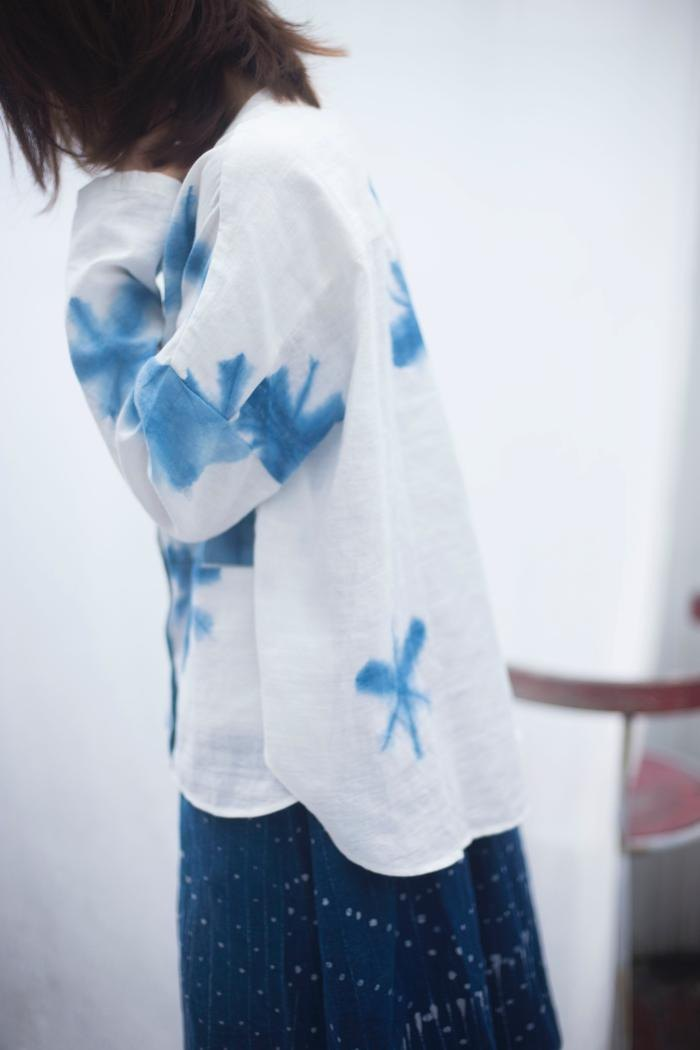 Fete snowflake twisted shirt plant blue tie dyed short coat cardigan