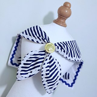 Double-sided sailor-mounted styling pet scarf/neckwear Sailor Marine