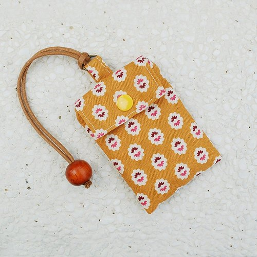 Small floral card bag _ yellow / card holder business card bag