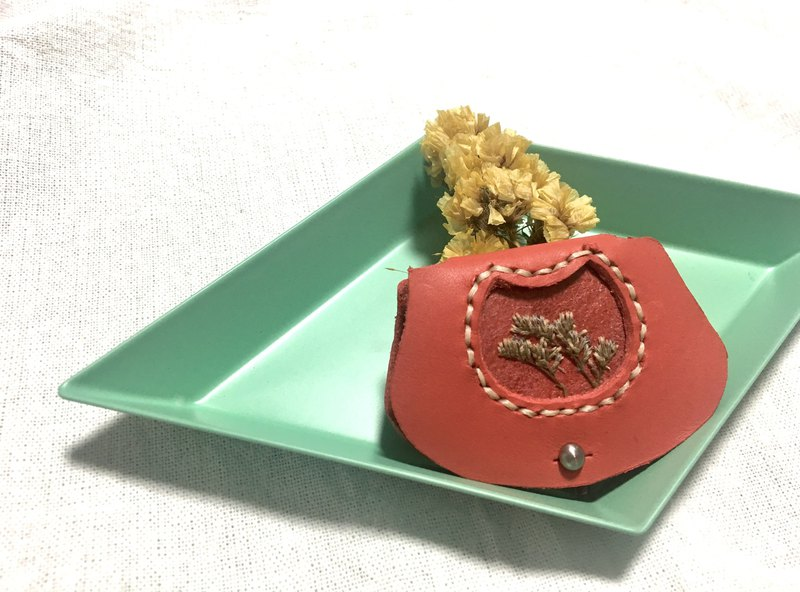 Dried flower leather winder (orange red)