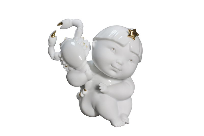 Handmade Porcelain sculpture- Angel and Star Signs-Scorpio