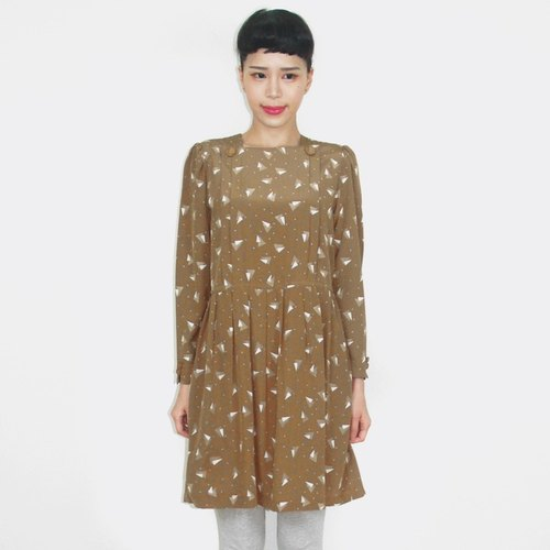 (Special) brown triangular pattern chiffon vintage long-sleeved dress AT8025