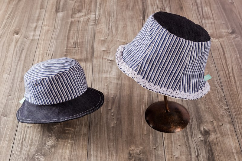 parent-child_marine.striped sailor style bucket hat