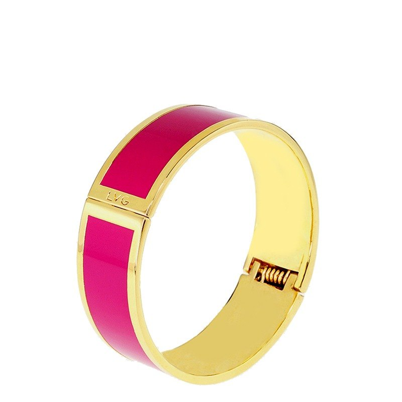 Pure color pink clamor enamel series of solid color bracelet (gold) -11800159003