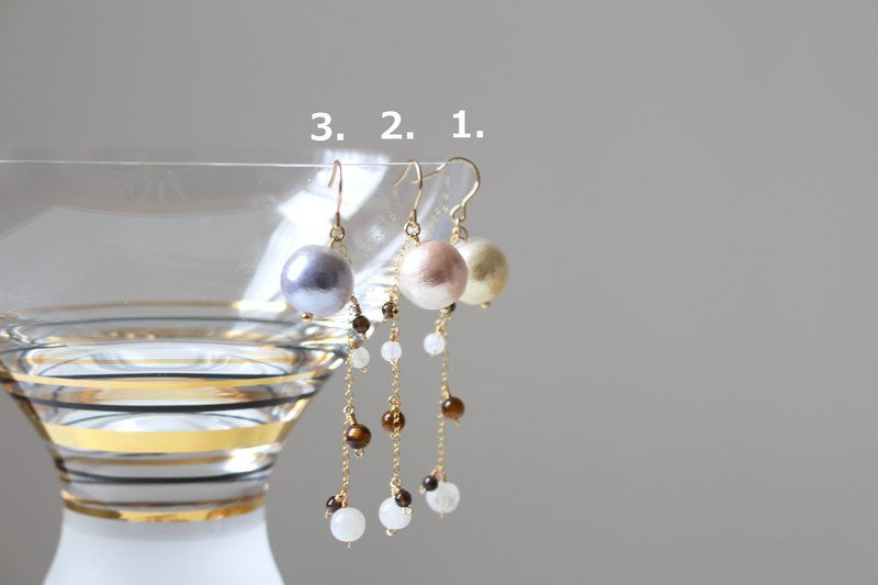 Cotton pearls 12mm and chic monotone gemstones dangled earrings, 14kgf