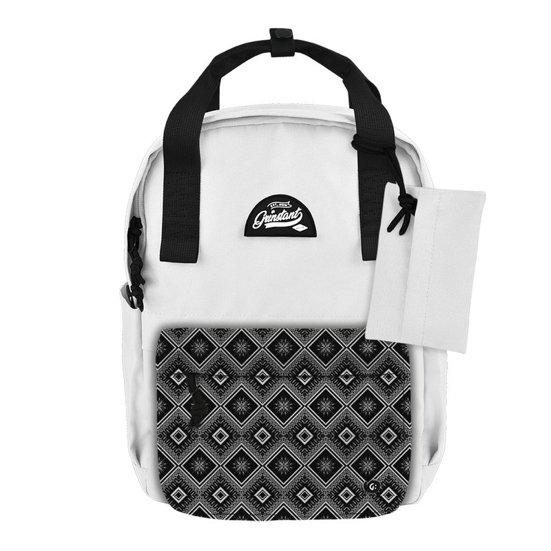 Grinstant mix and match detachable group 13 吋 backpack - black and white series (white with ethnic style)