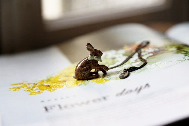 And Mary Coffee Rabbit Necklace