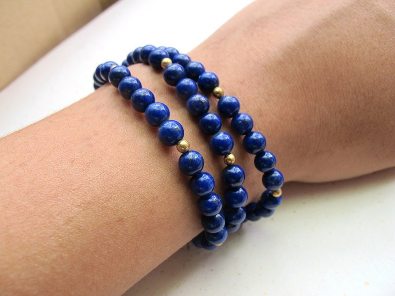 Lapis Lazuli x Brass [Quiet]-Three Circle Bracelet-Handmade Natural Stone Series