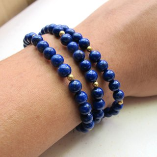 [Silence] Lapis Stone x Brass - Three-Loop Bracelets - Hand-made Natural Stone Series